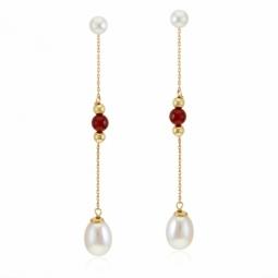 Boucles d'oreilles or jaune, cornaline et perles de culture, boules or