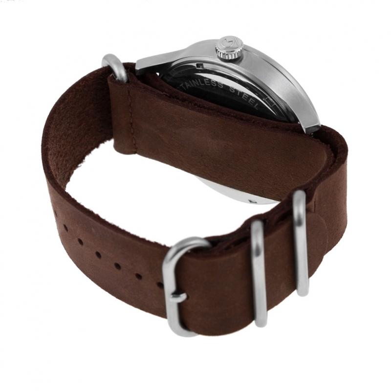 Achat Montre homme, boite acier, bracelet cuir et verre minéral ... a9e1d874ef24