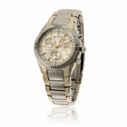 Chronographe homme étanche 100m, boîte acier, bracelet acier et acier doré, verre minéral