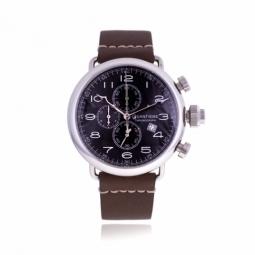 Chronographe homme, boîte acier, bracelet cuir, verre minéral
