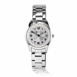 Montre dame, boite et bracelet en acier, cristaux de synthèse et verre minéral