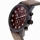 Chronographe homme, boîte acier noir, bracelet cuir et verre minéral - B