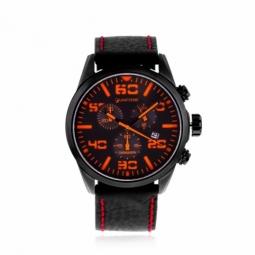 Chronographe homme, boîte acier noir, bracelet cuir, verre minéral