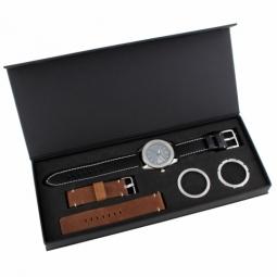 Coffret montre, boîte acier, 3 lunettes acier et 2 bracelets cuir
