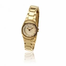 Montre dame, boîte et bracelet acier doré, cristaux de synthèse et verre minéral