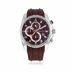 Chronographe homme, boîte acier, bracelet silicone, verre minéral