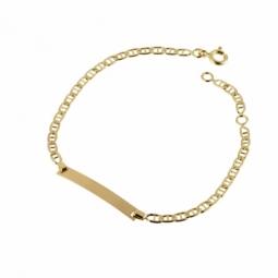 Bracelet identité en or jaune, maille marine barrée