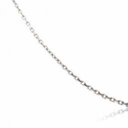 Chaîne communion en or gris, maille forçat diamantée