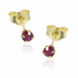 Boucles d'oreilles en or jaune, rubis