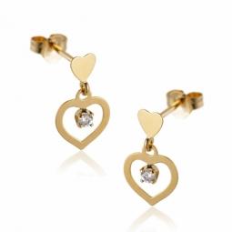 Boucles d'oreilles en or jaune, coeur oxyde de zirconium.