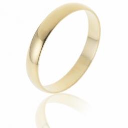 Alliance demi jonc en or jaune, largeur 3 mm