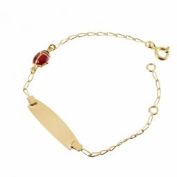 Bracelet identité en or jaune, maille ovale et pampille laquée