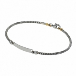 Bracelet identité câble acier en or jaune