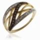 Bague ajourée en or jaune rhodié, diamants et diamants bruns - A