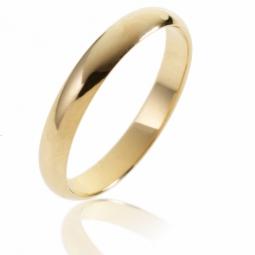 Alliance demi jonc en or jaune, largeur 3,5 mm