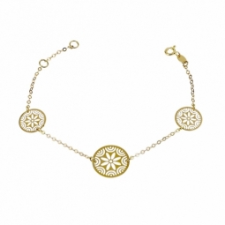 Bracelet en or jaune et motif filigrane