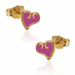 Boucles d'oreilles en or jaune, coeur laque rose.