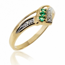 Bague en or jaune rhodié, émeraudes et diamants