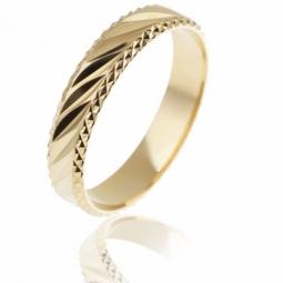 Alliance en or jaune facetée, largeur 4 mm