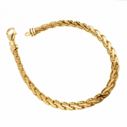 Bracelet en or jaune, maille palmier plate