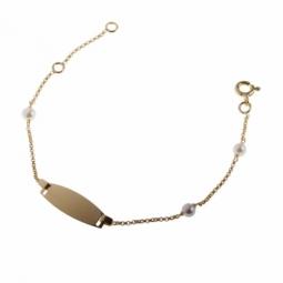Bracelet identité en or jaune, plaque tonneau et perles de culture