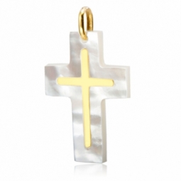 Croix en or jaune et nacre