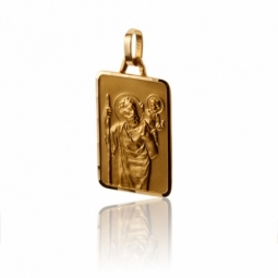 Médaille rectangle en or jaune  Saint-Christophe