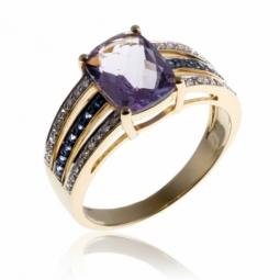 Bague en or jaune, améthyste lavande, saphirs et diamants