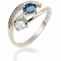 Bague en or gris, saphir, aigue marine et diamants