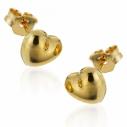 Boucles d'oreilles en or jaune, coeur.