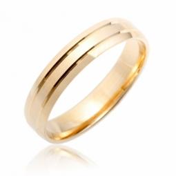 Alliance en or jaune mat et lisse, largeur 4 mm