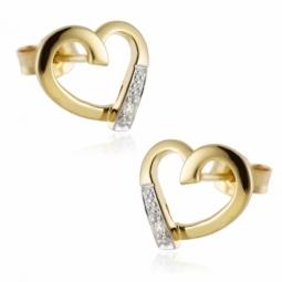 Boucles d'oreilles en or rhodié, coeur ajouré diamant