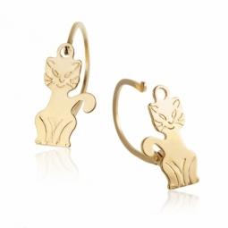 Boucles d'oreilles en or jaune, dormeuses chat.