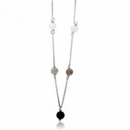 Collier en or gris, pierres de lune et onyx