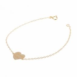 Bracelet en or jaune, coeur maman cherie