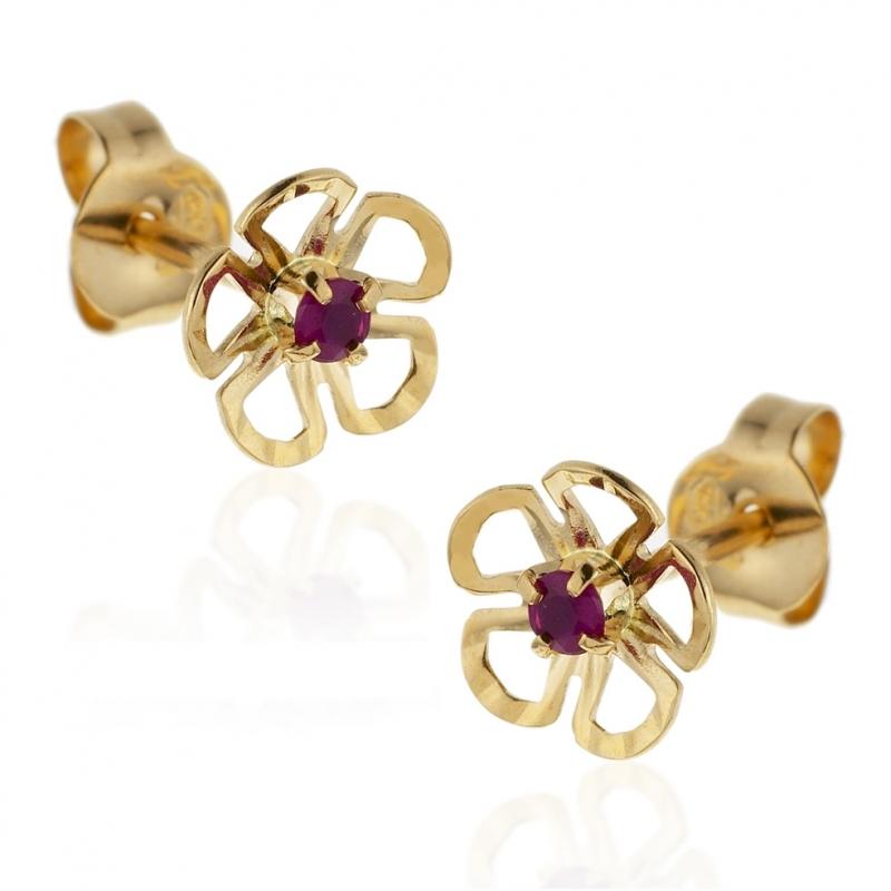 recherche d'authentique check-out nouveau pas cher Achat Boucles d'oreilles en or jaune, fleur rubis ...