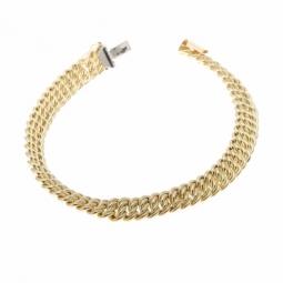Bracelet en or jaune maille americaine 7.6 mm - 8 mm