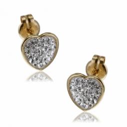 Boucles d'oreilles en or jaune, cristaux de synthèse et résine