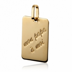 """Pendentif rectangle en or jaune, message """"Mon papa à moi"""""""