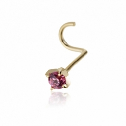 Piercing de nez en or jaune et oxyde de zirconium en rose
