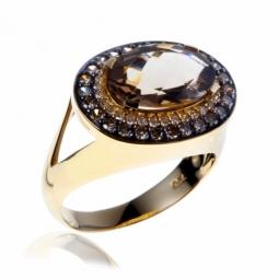 Bague or jaune et rhodié , quartz fumé, diamants blancs et diamants bruns