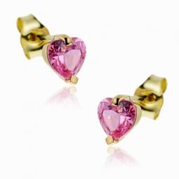 Boucles d'oreilles en or jaune, coeur oxyde de zirconium rose.