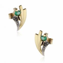 Boucles d'oreilles en or rhodié, émeraudes.