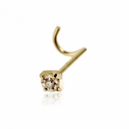 Piercing de nez en or jaune et diamant