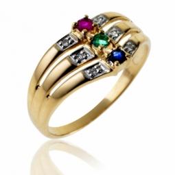 Bague en or jaune rhodié, saphir, rubis, émeraude et diamants