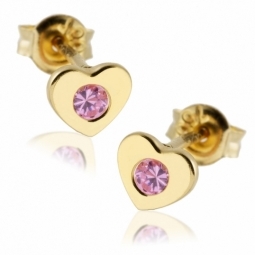 Boucles d'oreilles en or jaune, coeurs oxyde de zirconium rose.