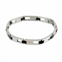 Bracelet en or jaune, acier et acier noir