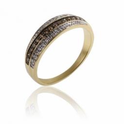 Bague en or jaune rhodié, diamants et diamants bruns