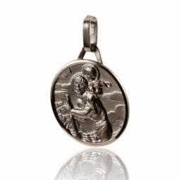 Médaille ronde en or gris Saint-Christophe