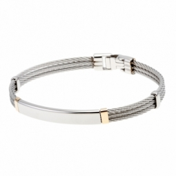 Bracelet en or jaune, acier et câble acier